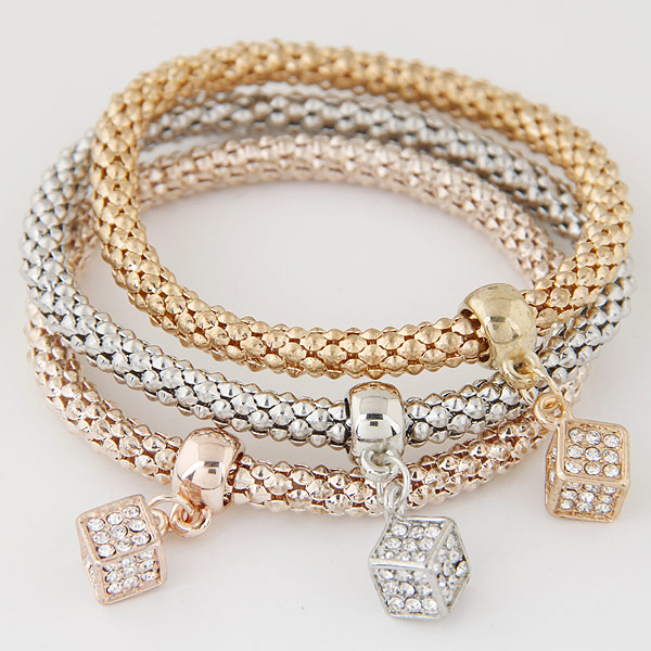 Zinc Alloy Bracelet with Iron plated with rhinestone lead   cadmium free 175mm Length:Approx 6.89 Inch 3Strands/Set