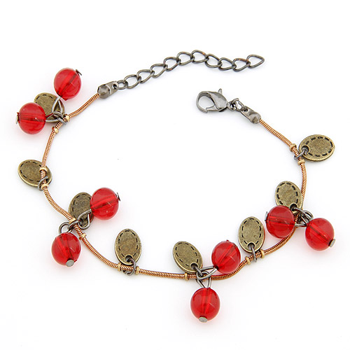 Zinc Alloy Bracelet with Acrylic with 5cm extender chain antique bronze color plated lead   cadmium free 160mm Sold Per Approx 6.3 Inch Strand