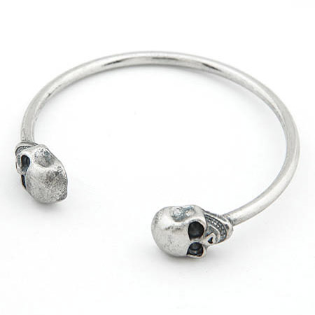 Zinc Alloy Cuff Bangle Skull antique silver color plated lead   cadmium free 60mm Inner Diameter:Approx 60mm Length:Approx 7.5 Inch