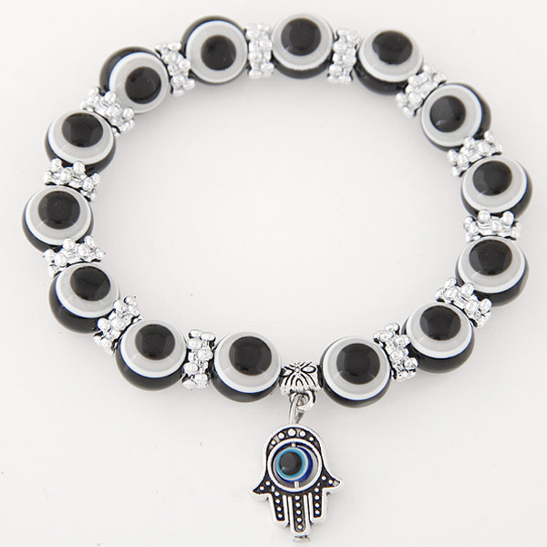 Hamsa Bracelets, Zinc Alloy, with Resin, antique silver color plated, Islamic jewelry & evil eye pattern, black, lead & cadmium free, 170x10mm, Sold Per Approx 6.69 Inch Strand