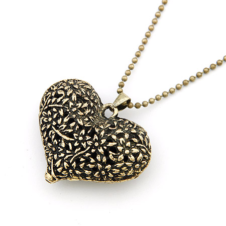 Zinc Alloy Sweater Chain Necklace Heart antique bronze color plated hollow lead   cadmium free 42mm Sold Per Approx 27.56 Inch Strand