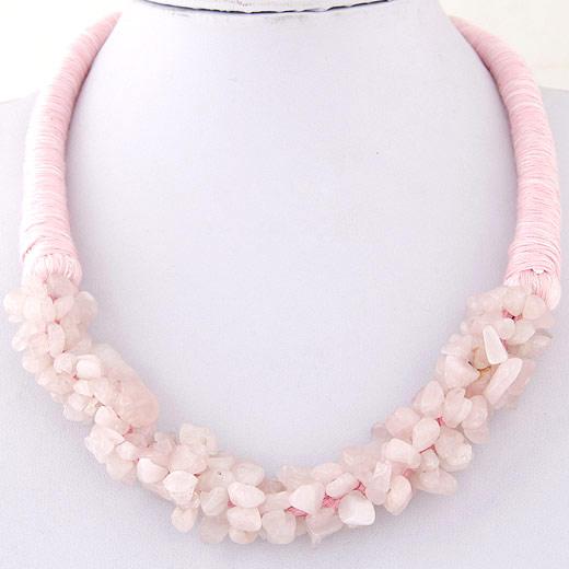 розовый кварц Ожерелье, с Шерсть, Комкообразная форма, 400mm, Продан через Приблизительно 15.75 дюймовый Strand