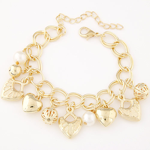 Zinc Alloy Bracelet Heart gold color plated charm bracelet   double link chain lead   cadmium free 180mm Sold Per Approx 7.09 Inch Strand
