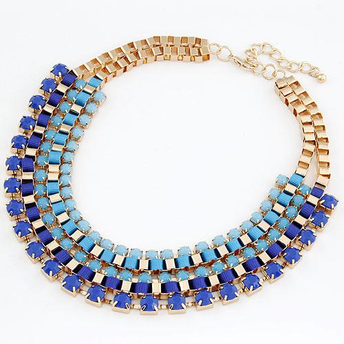 Сеть Тканые ожерелье, цинковый сплав, с канифоль, плакирован золотом, Цепной ящик, голубой, не содержит свинец и кадмий, 400x240x30mm, Продан через Приблизительно 15.75 дюймовый Strand