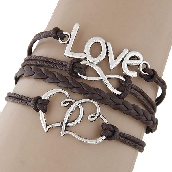 Комбинированный браслет, цинковый сплав, сердце & любовь & бесконечность, с Искусственная кожа, с 5cm наполнитель цепи, слова любви, плакированный цветом под старое серебро, 4-стренги, не содержит свинец и кадмий, 180x22mm, Продан через 7.09 дюймовый Strand