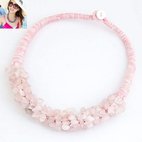 Ожерелья из кварца, розовый кварц, с Шерсть, Комкообразная форма, 400x180x18mm, Продан через Приблизительно 15.75 дюймовый Strand