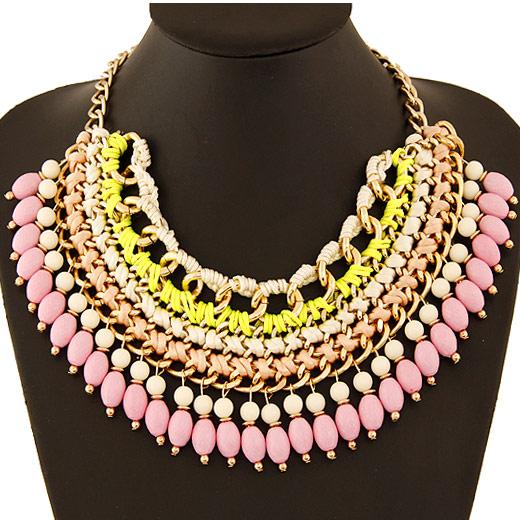 Сеть Тканые ожерелье, цинковый сплав, с Акрил, плакирован золотом, твист овал, разноцветный, не содержит свинец и кадмий, 400x200x70mm, Продан через Приблизительно 15.75 дюймовый Strand
