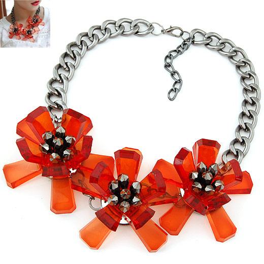 Resin Necklace, Zinc Alloy, with Resin, Flower, plumbum black color plated, twist oval chain, reddish orange, lead & cadmium free, 190x70mm, Sold Per Approx 17.48 Inch Strand