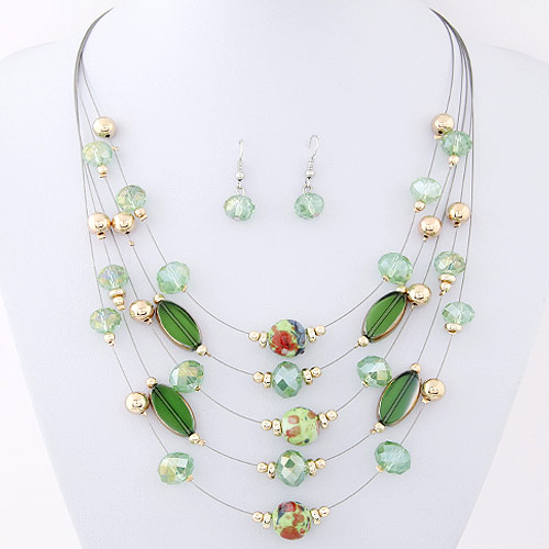 Crystal Jewelry Sets, earring & necklace, Zinc Alloy, with Crystal, platinum color plated, green, lead & cadmium free, 400mm, 27x9mm, Length:Approx 15.75 Inch, Sold By Set