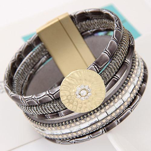 Утолить браслет, цинковый сплав, с Искусственная кожа, плакирован золотом, не содержит свинец и кадмий, 175x35mm, Продан через Приблизительно 6.5 дюймовый Strand