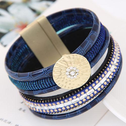 Утолить браслет, цинковый сплав, с Искусственная кожа, плакирован золотом, голубой, не содержит свинец и кадмий, 175x35mm, Продан через Приблизительно 6.89 дюймовый Strand