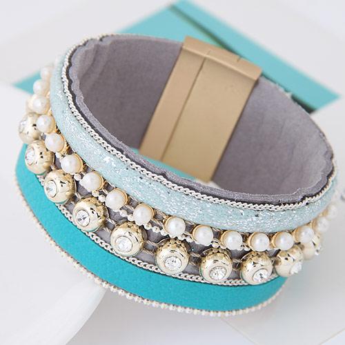 Утолить браслет, цинковый сплав, с ABS пластик жемчужина & Искусственная кожа, плакирован золотом, небесно-голубой, 175x30mm, длина:Приблизительно 6.5 дюймовый, продается PC