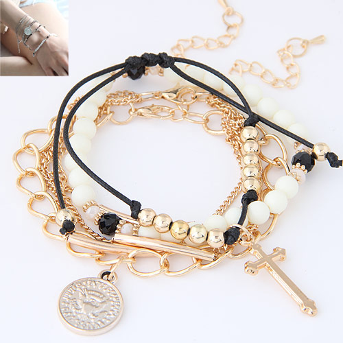 Zinc Alloy Bracelet with Resin platinum color plated charm bracelet   4-strand lead   cadmium free 170mm Length:Approx 6.5 Inch