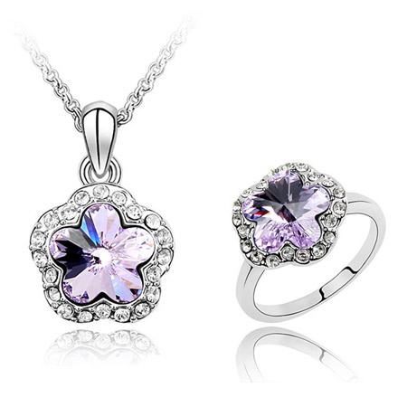 Austrian Crystal Jewelry Sets finger ring   necklace Zinc Alloy with Austrian Crystal Flower platinum plated purple lead   cadmium free 400x22x14mm US Ring Size:6-9 Length:Approx 15.75 Inch