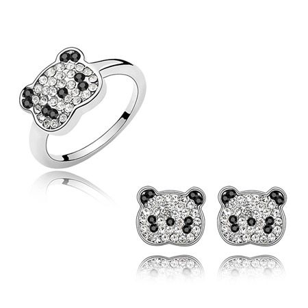 Austrian Crystal Jewelry Sets Zinc Alloy Bear platinum plated with Austria rhinestone lead   cadmium free 10mm US Ring Size:6-9