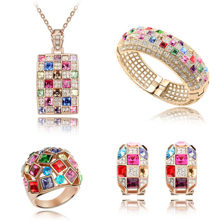 Austrian Crystal Jewelry Sets bangle   finger ring   earring   necklace Zinc Alloy with Austrian Crystal real gold plated multi-colored lead   cadmium free 43x22mm 24mm 20x12mm 24mm Inner Diameter:Approx 60mm US Ring Size:6-9 Length:Approx 7.5 Inch Approx 15.5 Inch