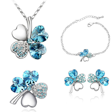 Austrian Crystal Jewelry Sets finger ring   bracelet   earring   necklace Zinc Alloy with Austrian Crystal Four Leaf Clover platinum color plated sea blue lead   cadmium free 26x21mm 24x24mm 15mm 13x13mm US Ring Size:6-9 Length:Approx 6 Inch Approx 15.5 Inch