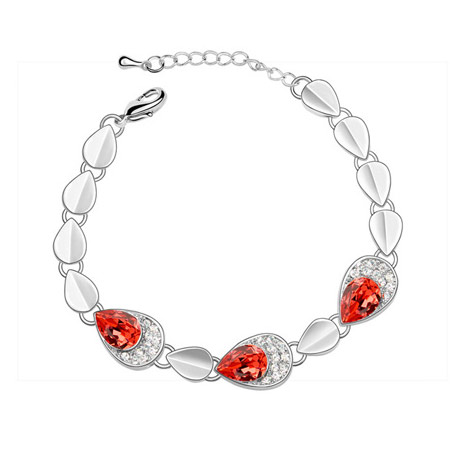 Austrian Crystal Bracelet, Zinc Alloy, with Austrian Crystal, platinum plated, lead & cadmium free, 160x15mm, Sold Per Approx 6.3 Inch Strand