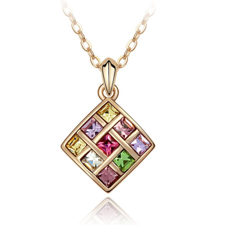 Austrian Crystal Necklace, Zinc Alloy, Rhombus, real gold plated, with Austria rhinestone, lead & cadmium free, 400x25x17mm, Sold Per Approx 15.75 Inch Strand