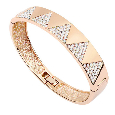Austrian Crystal Bracelet, Zinc Alloy, with Austrian Crystal, platinum plated, lead & cadmium free, 55x47mm, Inner Diameter:Approx 50mm, Length:Approx 6 Inch, Sold By PC