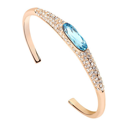 Zinc Alloy Cuff Bangle, with Austrian Crystal, platinum plated, lead & cadmium free, 55x47mm, Inner Diameter:Approx 50mm, Length:Approx 6 Inch, Sold By PC