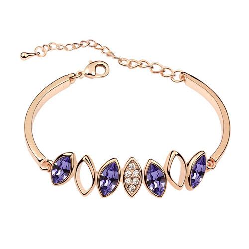 Austrian Crystal Bracelet, Zinc Alloy, with Austrian Crystal, Horse Eye, platinum plated, lead & cadmium free, 160x51x7mm, Sold Per Approx 6.3 Inch Strand