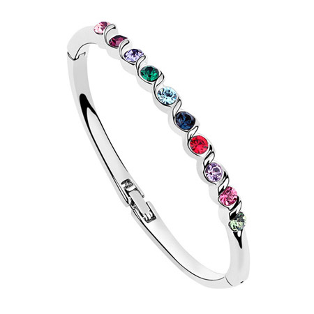 Austrian Crystal Bracelet, Zinc Alloy, platinum color plated, with Austria rhinestone, multi-colored, lead & cadmium free, 51x48mm, Inner Diameter:Approx 60mm, Length:Approx 5.5 Inch, Sold By PC