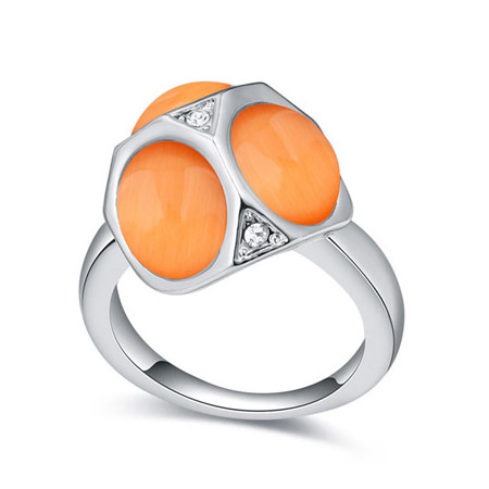 Cats Eye Finger Ring with Crystal platinum color plated reddish orange 16-19mm US Ring Size:6-9