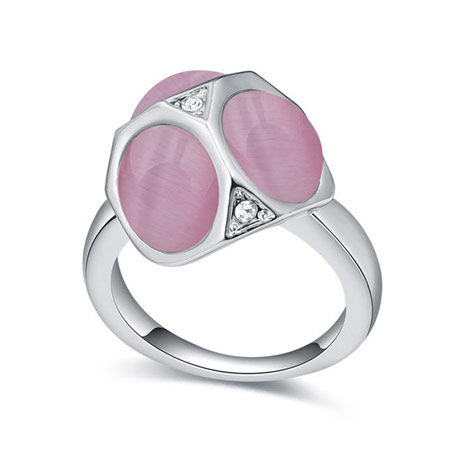 Cats Eye Finger Ring with Crystal   Zinc Alloy platinum color plated pink 16-19mm US Ring Size:6-9