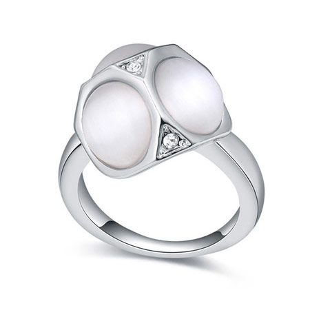 Cats Eye Finger Ring, Zinc Alloy, with Cats Eye & Crystal, platinum color plated, white, lead & cadmium free, 16-19mm, US Ring Size:6-9, Sold By PC