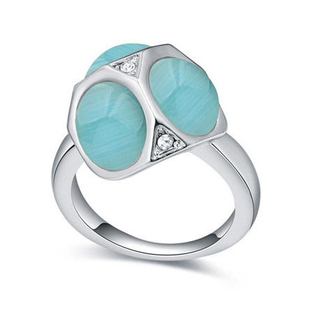 Cats Eye Finger Ring with Crystal   Zinc Alloy platinum color plated blue 16-19mm US Ring Size:6-9