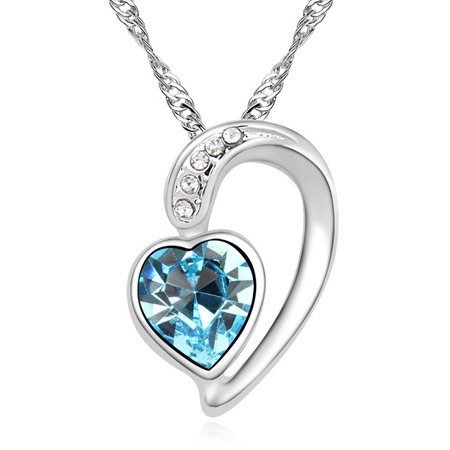 Crystal Zinc Alloy Necklace, with Crystal, Heart, platinum color plated, rope chain & faceted, blue, lead & cadmium free, 400x22x17mm, Sold Per Approx 15.75 Inch Strand