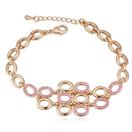 Austrian Crystal Bracelet, Zinc Alloy, real gold plated, with Austria rhinestone, lead & cadmium free, 160mm, Sold Per Approx 6.3 Inch Strand