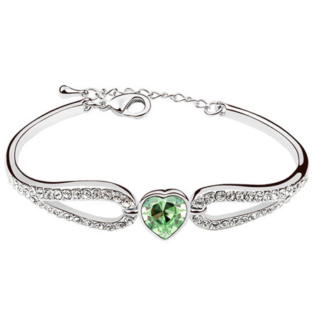 Austrian Crystal Bracelet, Zinc Alloy, with Austrian Crystal, Heart, platinum plated, green, lead & cadmium free, 50x43mm, Sold Per Approx 6 Inch Strand
