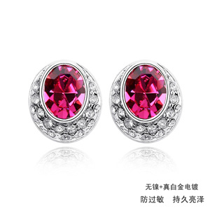 Zinc Alloy Stud Earring, with Austrian Crystal, platinum plated, lead & cadmium free, 13x12mm, Sold By Pair