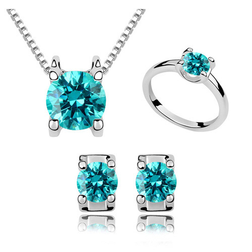 Austrian Crystal Jewelry Sets finger ring   earring   necklace Zinc Alloy with Austrian Crystal platinum plated lead   cadmium free 400x8x6mm  6x4mm  22x19mm US Ring Size:6.5 Length:Approx 15.75 Inch