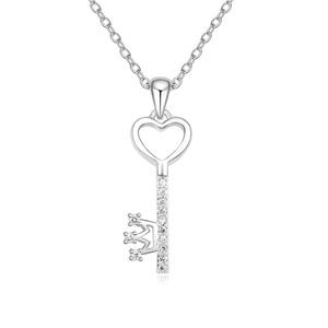Austrian Crystal Necklace, Zinc Alloy, Key, platinum plated, with Austria rhinestone, lead & cadmium free, 10x33x450mm, Sold Per Approx 17.5 Inch Strand