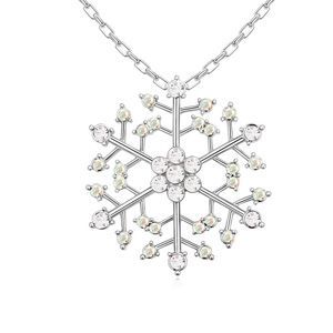 Austrian Crystal Necklace, Zinc Alloy, with Zinc Alloy, Snowflake, platinum plated, with Austria rhinestone, lead & cadmium free, 46x46x450mm, Sold Per Approx 17.5 Inch Strand