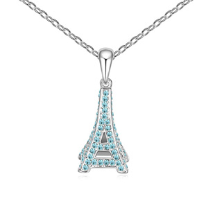 Austrian Crystal Necklace, Zinc Alloy, Eiffel Tower, platinum plated, with Austria rhinestone, lead & cadmium free, 13x33x450mm, Sold Per Approx 17.5 Inch Strand