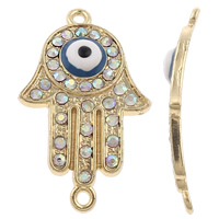 Evil Eye Connector, Zinc Alloy, Evil Eye Hamsa, plated, Jewish  Jewelry & Islamic jewelry & enamel & with rhinestone & 1/1 loop, more colors for choice, nickel, lead & cadmium free, 22x35x6mm, Hole:Approx 2mm, 10PCs/Bag, Sold By Bag