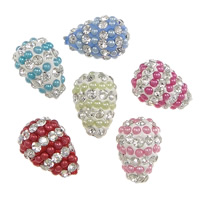 Half Drilled Rhinestone Beads, Clay Pave, with Resin Pearl, Teardrop, with 73 pcs rhinestone & half-drilled, more colors for choice, 11x15mm, Hole:Approx 1mm, 30PCs/Lot, Sold By Lot