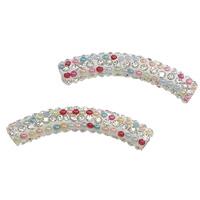 Koperen pijp Beads, Clay Pave, met hars parel & Messing, Buis, met 190 stuks strass, multi-gekleurde, 47x8mm, Gat:Ca 4mm, 20pC's/Lot, Verkocht door Lot