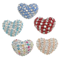Half Drilled Rhinestone Beads, Clay Pave, with Resin Pearl, Heart, with 73 pcs rhinestone & half-drilled, more colors for choice, 20x17x12mm, Hole:Approx 1mm, 20PCs/Lot, Sold By Lot