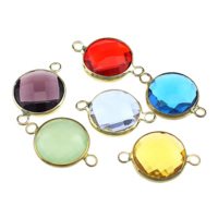 Glass Connector, Brass, with Glass, Flat Round, gold color plated, faceted & 1/1 loop, mixed colors, nickel, lead & cadmium free, 21x14x6mm, Hole:Approx 2mm, 20PCs/Lot, Sold By Lot