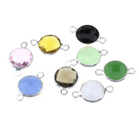 Glass Connector, Brass, with Glass, Flat Round, silver color plated, faceted & 1/1 loop, mixed colors, nickel, lead & cadmium free, 17x10x5mm, Hole:Approx 1.5mm, 30PCs/Lot, Sold By Lot