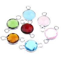 Коннектеры из стекла, Латунь, с Стеклянный, Плоская круглая форма, плакирован серебром, граненый & 1/1 петля, разноцветный, не содержит никель, свинец, 15x8x3.50mm, отверстие:Приблизительно 1.5mm, 30ПК/Лот, продается Лот