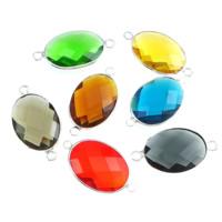 Коннектеры из стекла, Латунь, с Стеклянный, Плоская овальная форма, плакирован серебром, граненый & 1/1 петля, разноцветный, не содержит никель, свинец, 25x18x8mm, отверстие:Приблизительно 3mm, 10ПК/Лот, продается Лот