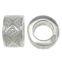 925 Sterling Silver European Beads, Column, without troll, 4.50x8mm, Hole:Approx 4.5mm, 5PCs/Lot, Sold By Lot