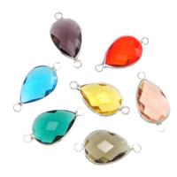 Коннектеры из стекла, Латунь, с Стеклянный, Каплевидная форма, плакирован серебром, граненый & 1/1 петля, разноцветный, не содержит никель, свинец, 13x18x6mm, отверстие:Приблизительно 2mm, 20ПК/Лот, продается Лот