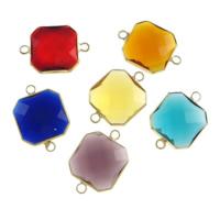 Коннектеры из стекла, Латунь, с Стеклянный, Квадратная форма, плакирован золотом, граненый & 1/1 петля, разноцветный, не содержит никель, свинец, 16x16x6mm, отверстие:Приблизительно 2mm, 20ПК/Лот, продается Лот